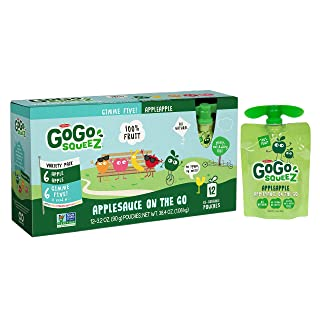 GoGo squeeZ Applesauce on the Go, Variety Pack (Apple Apple/GIMME 5), 3.2 Ounce Portable BPA-Free Pouches, Gluten-Free, 72 Total Pouches (6 Boxes with 12 Pouches Each)