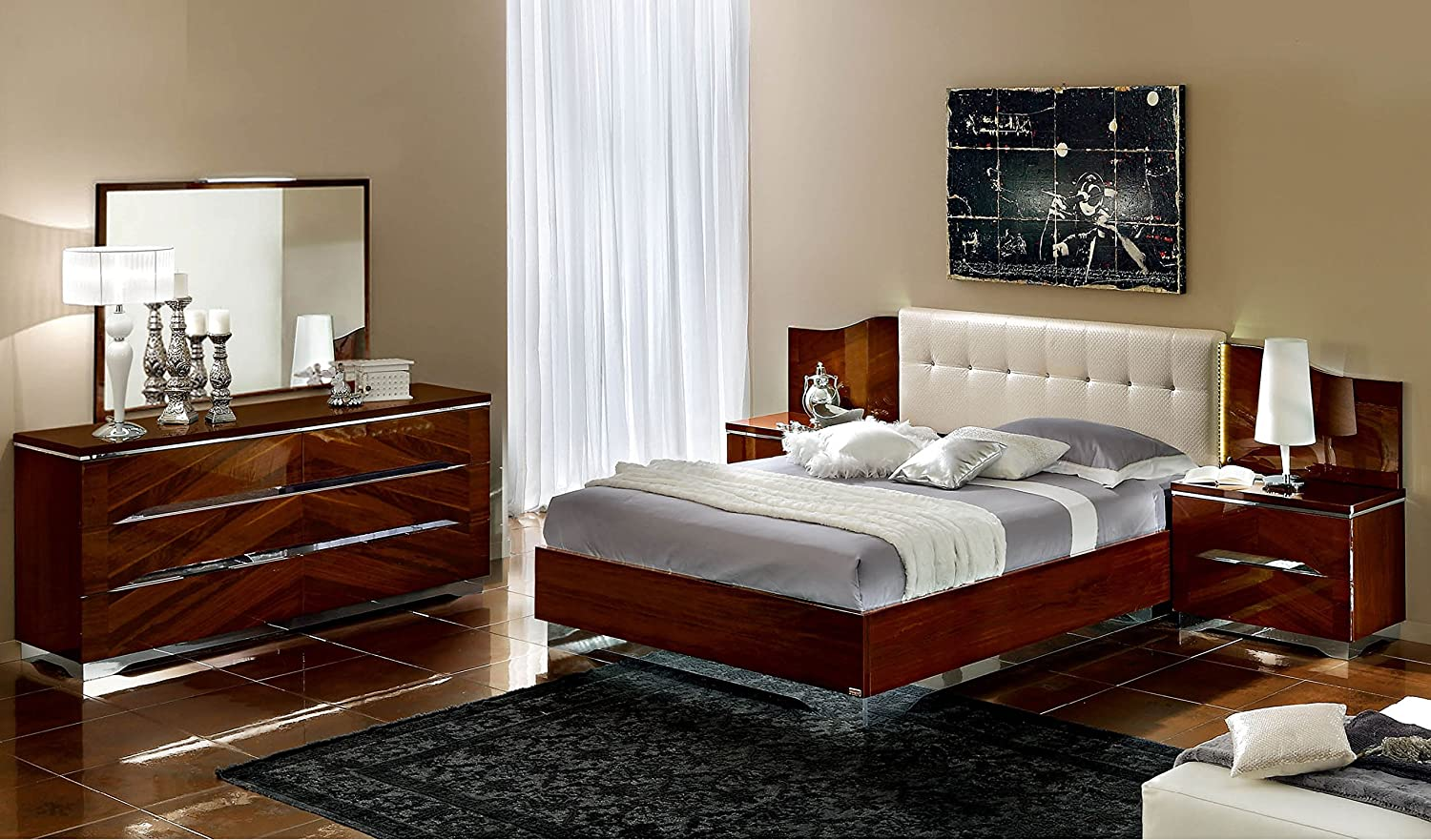 Amazon.com: Italian Modern Contemporary King Size Bed Matrix Bedroom Set By  CamelGroup, Italy: Kitchen U0026 Dining