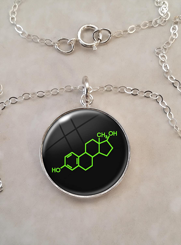 Estrogen Molecule 925 Sterling Silver Charm  Pendant  Link 33 cm x 12 cm