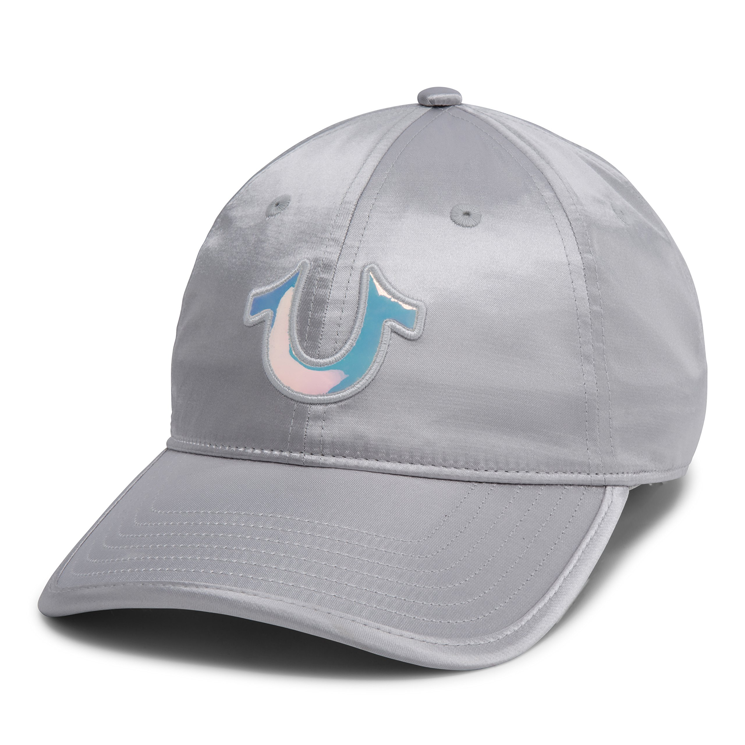 True Religion Women's Satin Baseball Cap, Silver OSFA