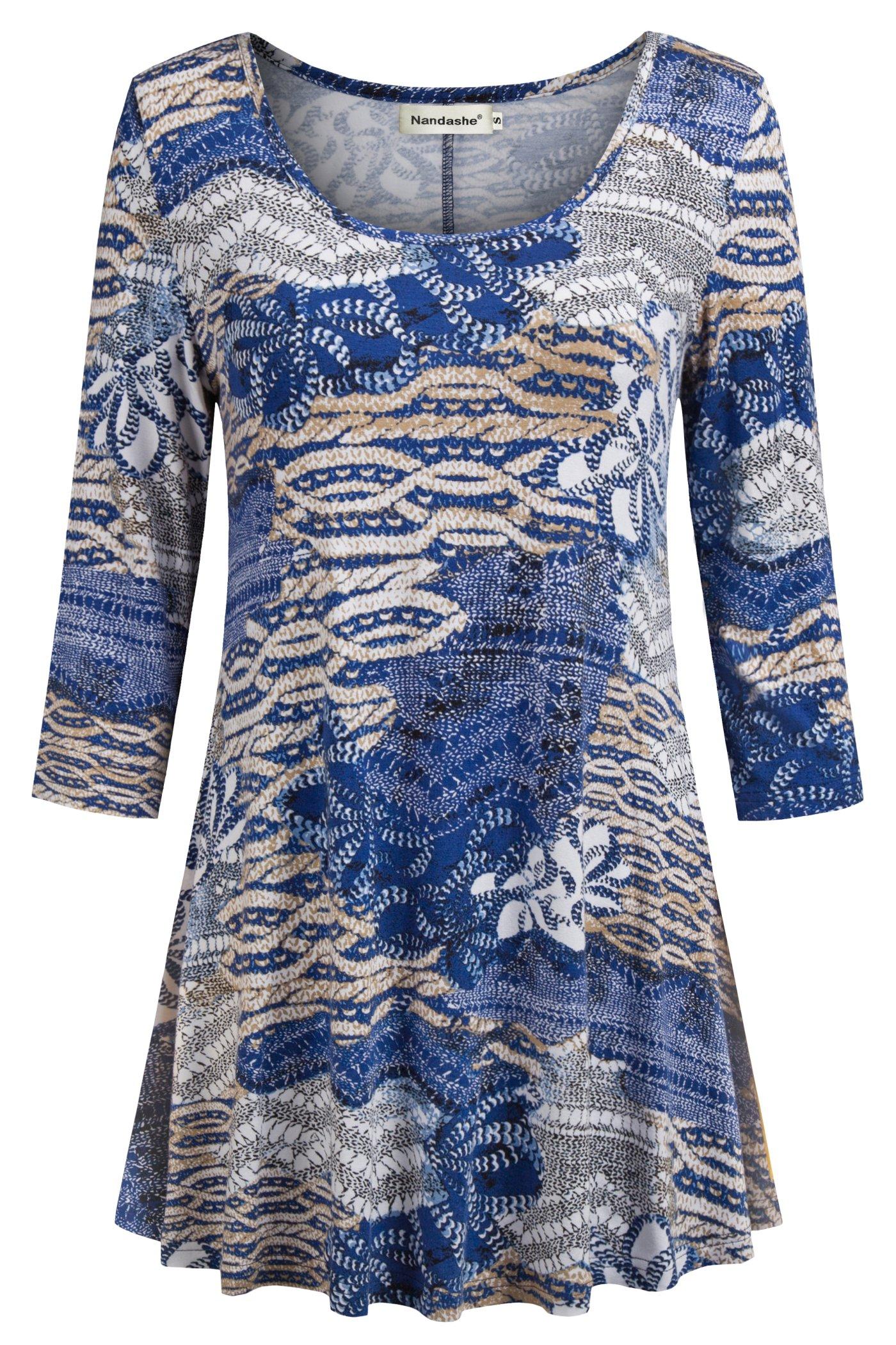Nandashe Casual Tunic Shirt,Women 3 4 Sleeves Crewneck Nice Flower Print Slim Paisley Pattern Country Style Plain Cozy Pleat Pullover Drape Boho Blouses Blue Beige XXL