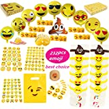 Emoji Party Favors Supplies Faces Jumbo Pack, Coil Springs (Slinkies), Balloons, Stickers, Rubber Wristbands Bracelets, Favor Goodie Bags, foci cozi Bulk Set Stuff Toys Gifts for Kids Children