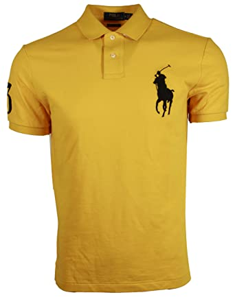 927a87f52 RALPH LAUREN Polo Men's Custom Fit Big Pony Polo Shirt (Small, Yellow)
