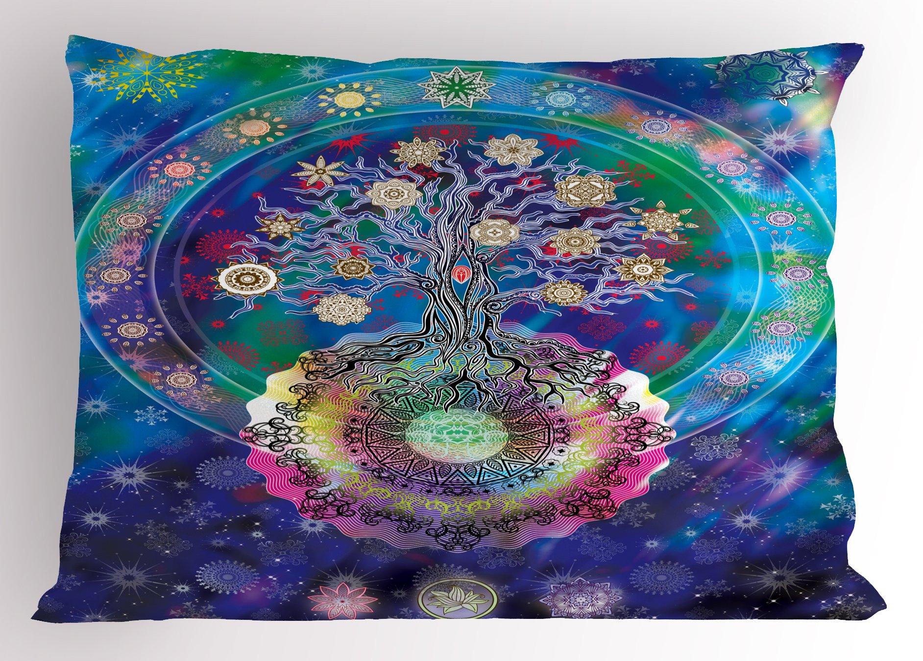 Ambesonne Mandala Pillow Sham, Tree of Life Floral Style Mandala Spiritual Artwork Meditation Peace Spa Design, Decorative Standard Queen Size Printed Pillowcase, 30 X 20 Inches, Blue Purple