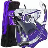 U.S. Divers Diva Women Snorkel Set, Ladies Silicone Mask, Trek Travel Fins, Dry Top Snorkel + Snorkeling Gear Bag - Purple - Small