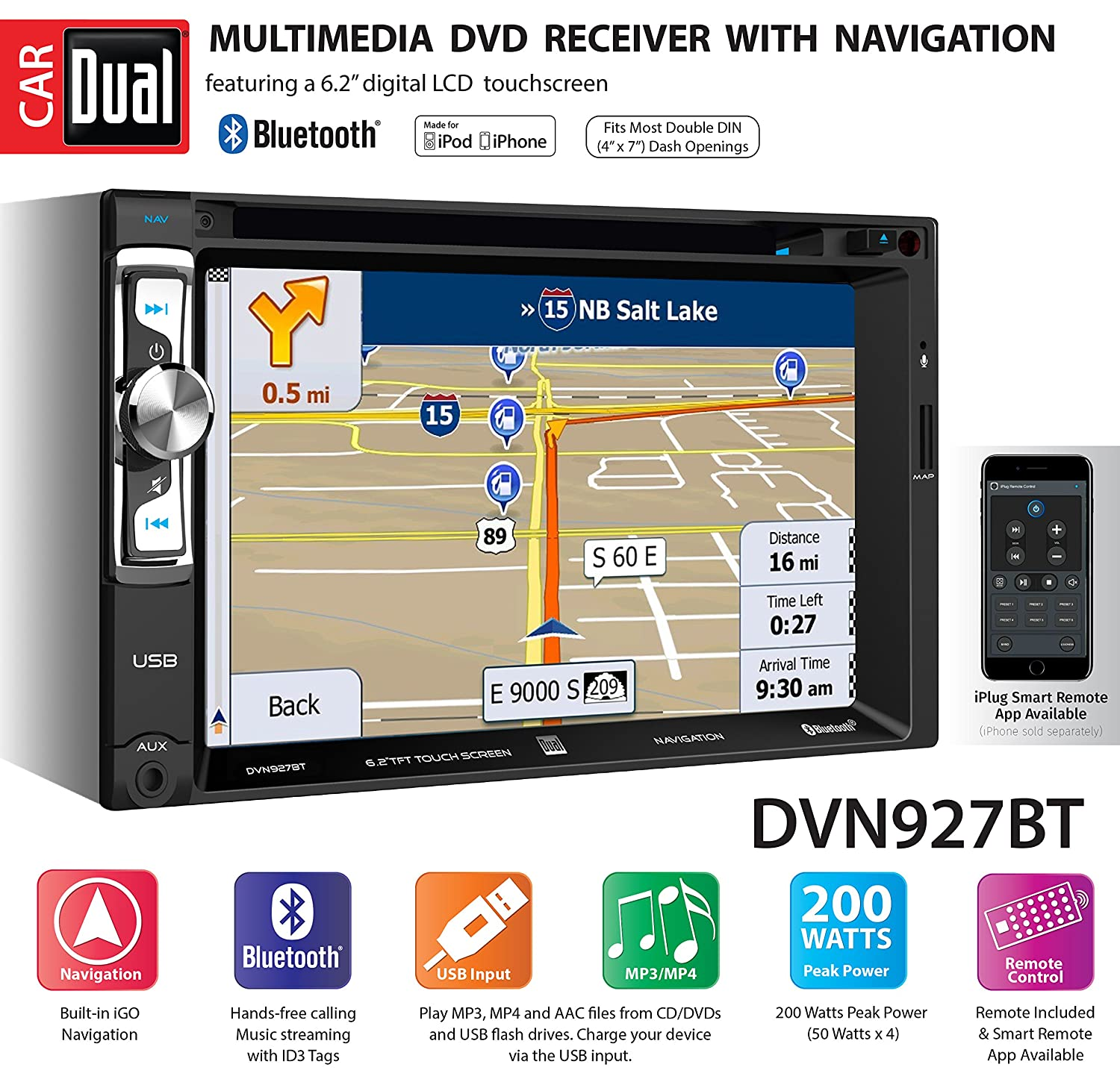 Dual Electronics Dvn927bt Digital Multimedia 62 Inch Boss Audio Bv9364b Wiring Harness Led Backlit Lcd Touchscreen Double Din Car Stereo Receiver With Built In Navigation