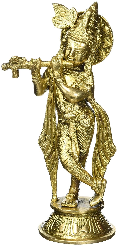 H Murli Krishna Playing on Flute Puja Hindu Figurine Sculpture Decor W 1.28 Kg 9.75 Inch