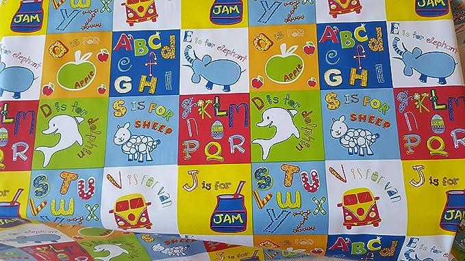 infantil ABC Alfabeto Animal PVC Hule Vinilo Tela Fácil De Limpiar Mantel: Amazon.es: Hogar