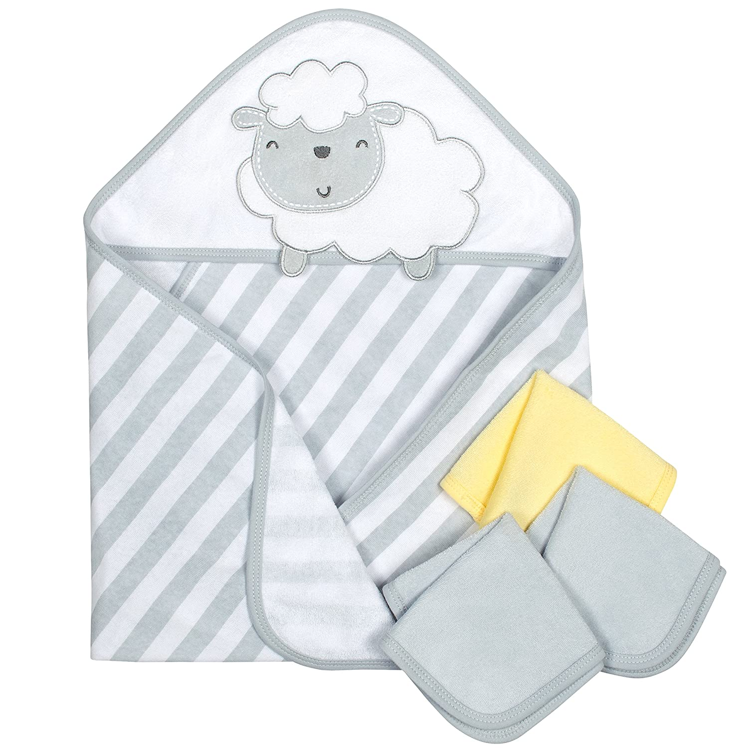 Gerber 4-Piece Hooded26 x 30 Towel and 9x 9 Washcloth Set, Whale Gerber Childrenswear 13742416AB18OSZ