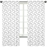 Arrow Print Bedroom Decor Window Treatment Panels for Black and White Fox Collection - Set of 2