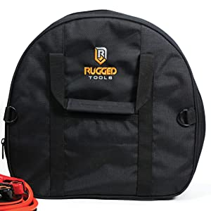 Rugged Tools Cable Bag - Jumper Cable Bag - Storage & Organizer for Cables, Cords, and Hoses Including EV Charging Cables for Electric Vehicles - Tesla, Nissan Leaf, Chevy Bolt