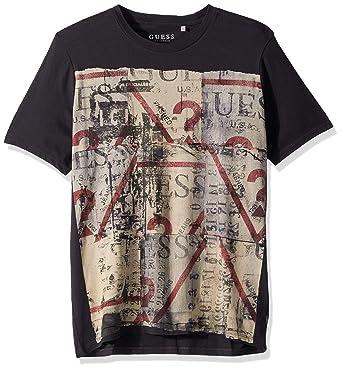 fbb9d665cc9b Guess Men s Short Sleeve Street Collage Crew Neck T-Shirt  Amazon.co.uk   Clothing