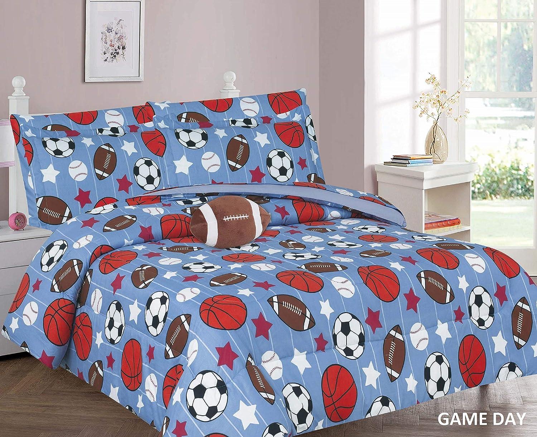 6 Piece Twin Size Kids Boys Comforter Set Bed in Bag w/Sham, Sheet Set & Decorative Toy Pillow, Stars Sports Soccer Baseball Football Blue Comforter Bedding Set w/Sheets, T 6pc Gameday
