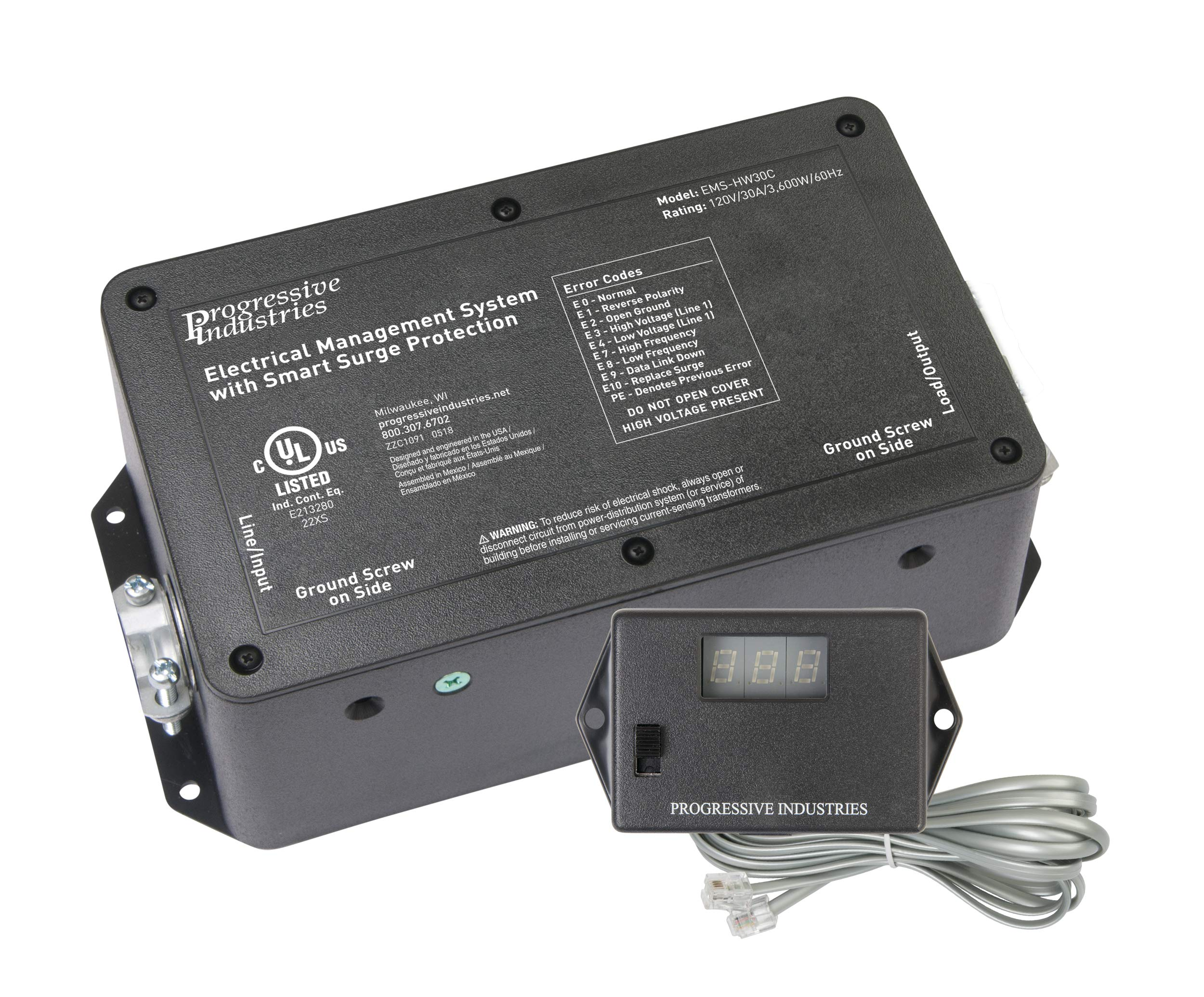 PROGRESSIVE INDUSTRIES 59016 30 Amp Hardwired EMS-HW30C RV Surge & Electrical Protector