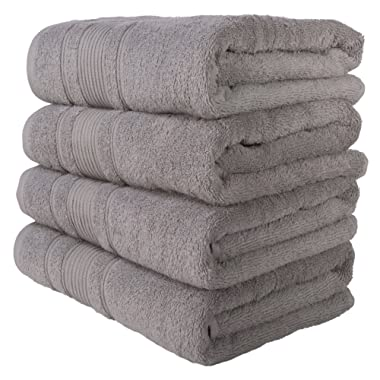 4 PACK Bath Towels Set | Premium Quality Luxury Turkish Cotton Absorbent AND Super Soft - SILVER GREY