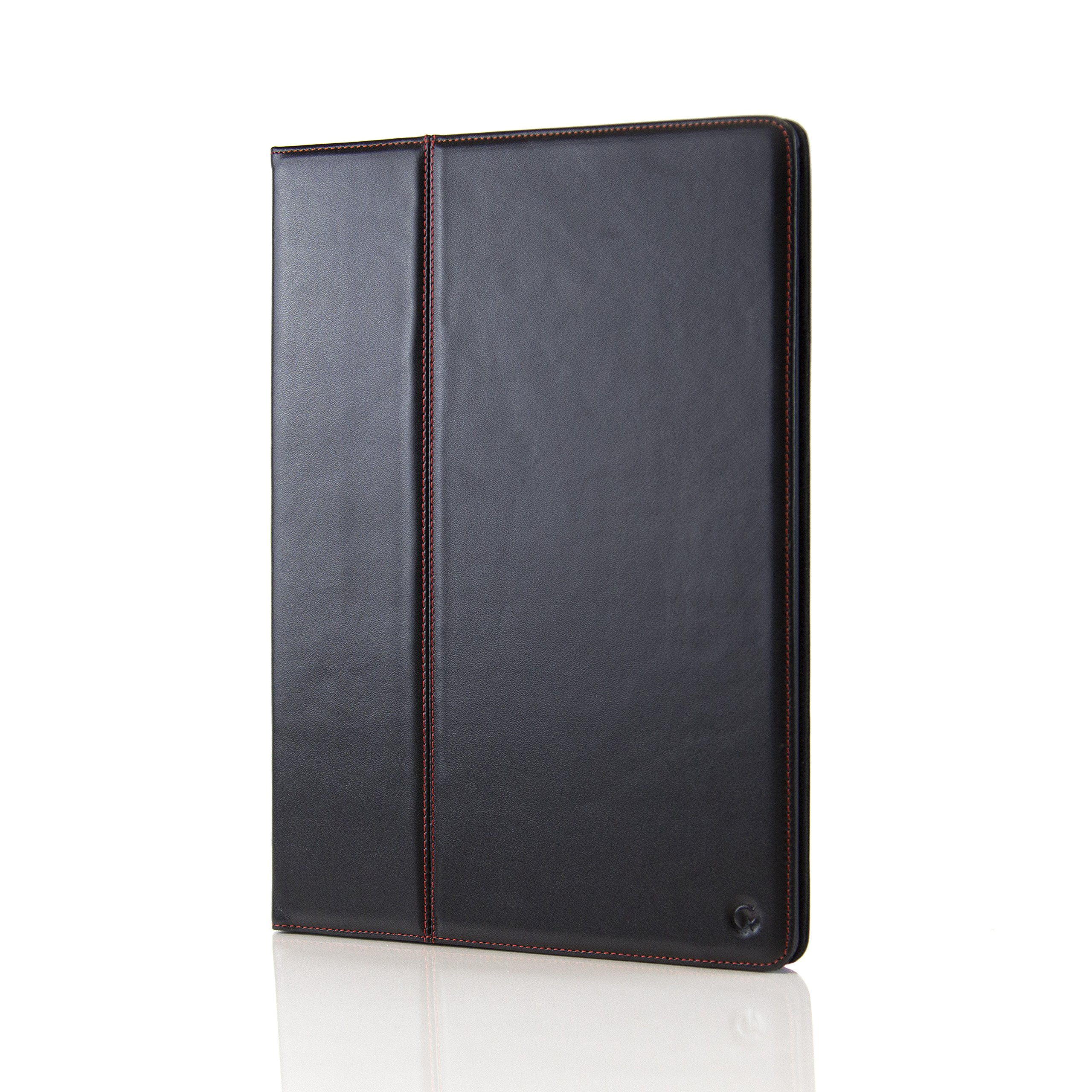 Casemade Apple iPad Pro 12.9 (1st Gen 2015 Model) Premium Grade Luxury Real Italian Leather Cover / Freestanding Case in Black (Compatible Model Numbers: A1584, A1652)