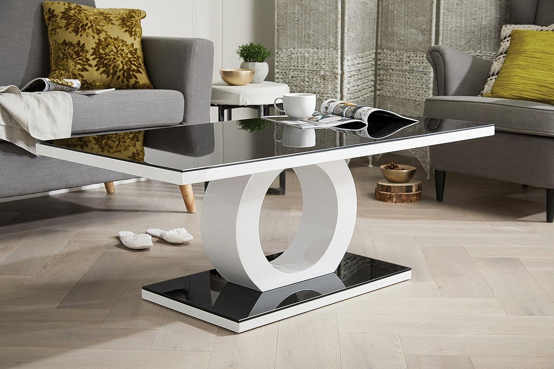 Furniturebox UK Giovani Designer Halo Black White High Gloss Glass Modern Coffee Table FurnitureboxUK®
