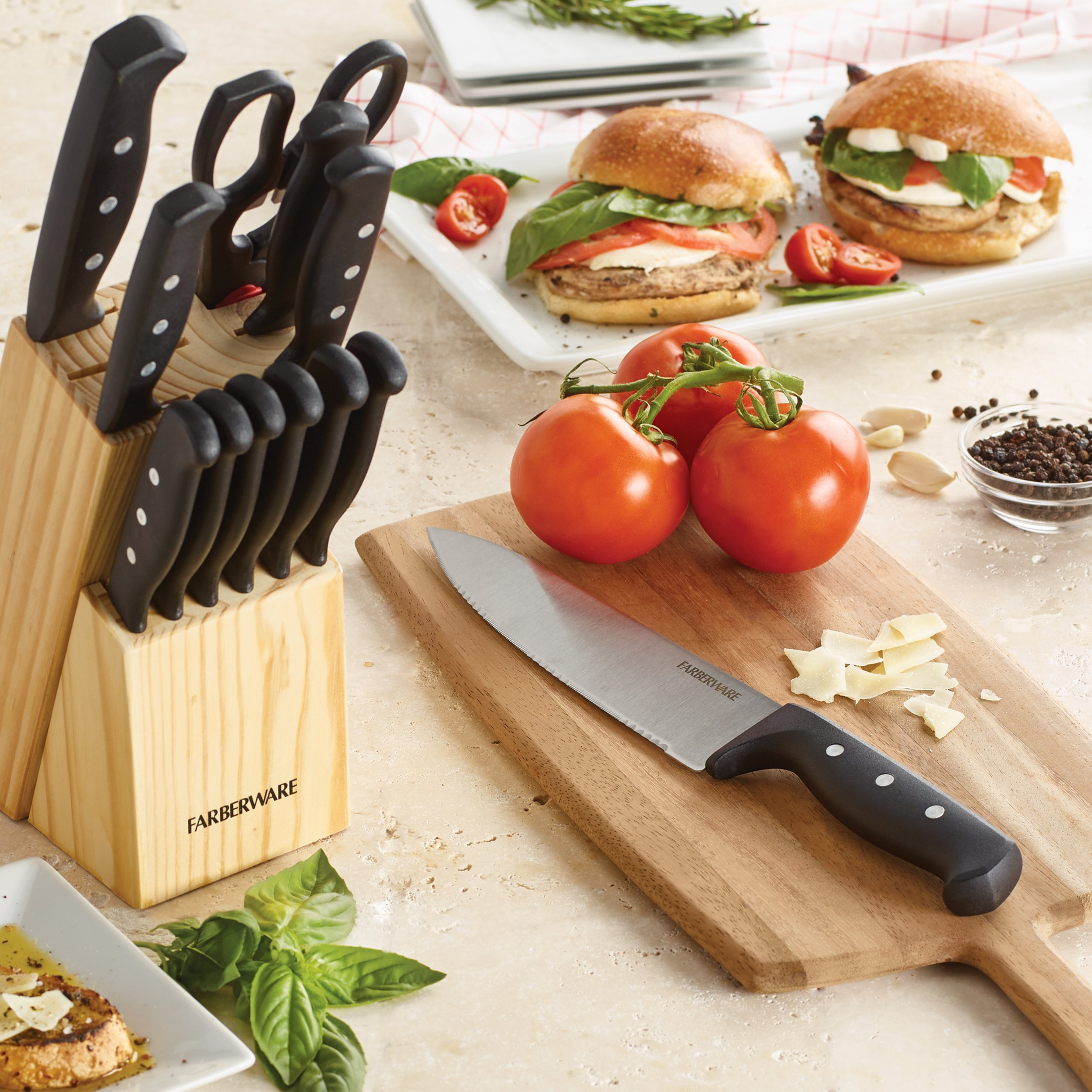 Farberware 5152501 'Never Needs Sharpening' 22-Piece Triple Rivet Stainless Steel Knife Block Set with Kitchen Tool Set For Back to School College, Black by Farberware (Image #4)