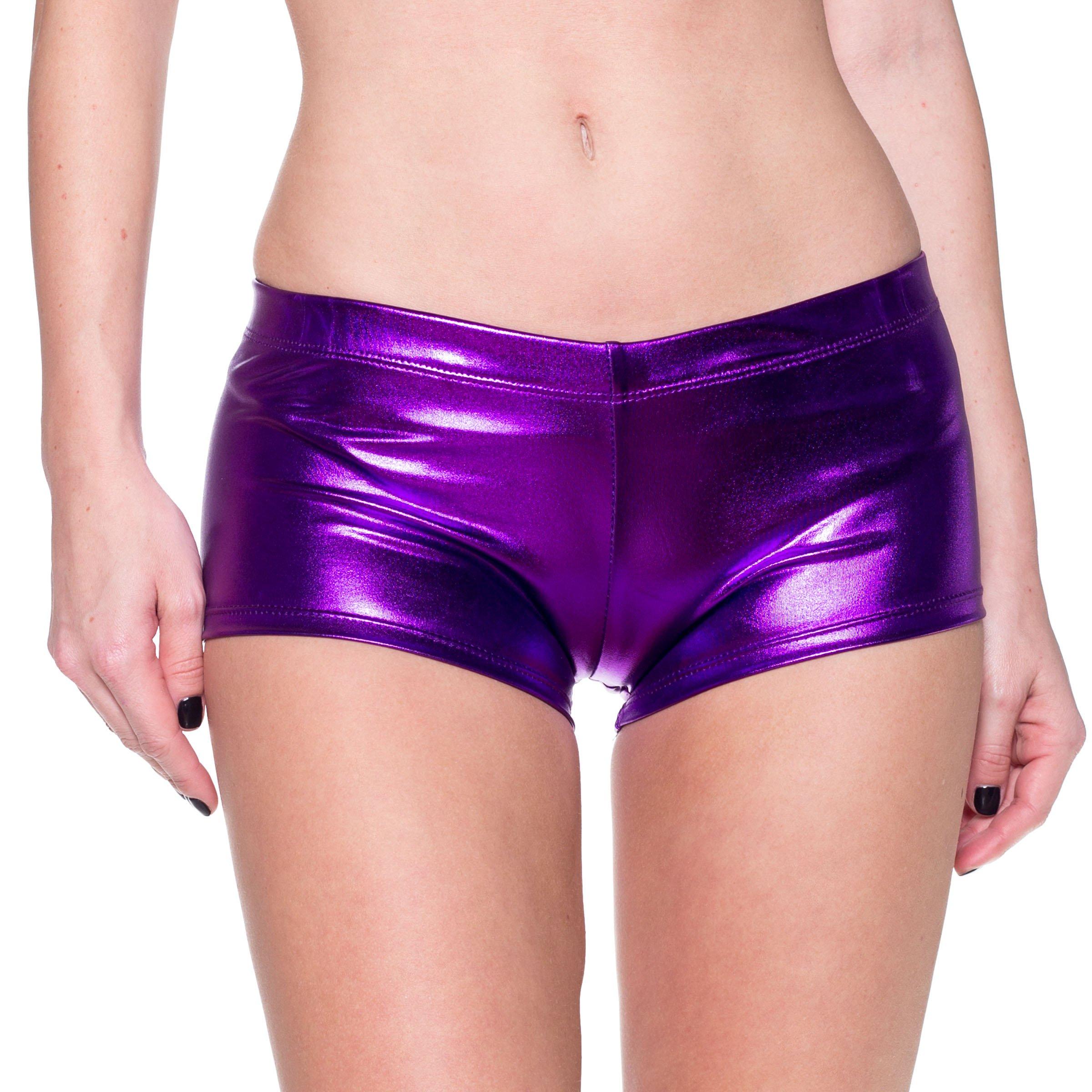 J2 Love Women's Metallic Booty Shorts, Small, Purple