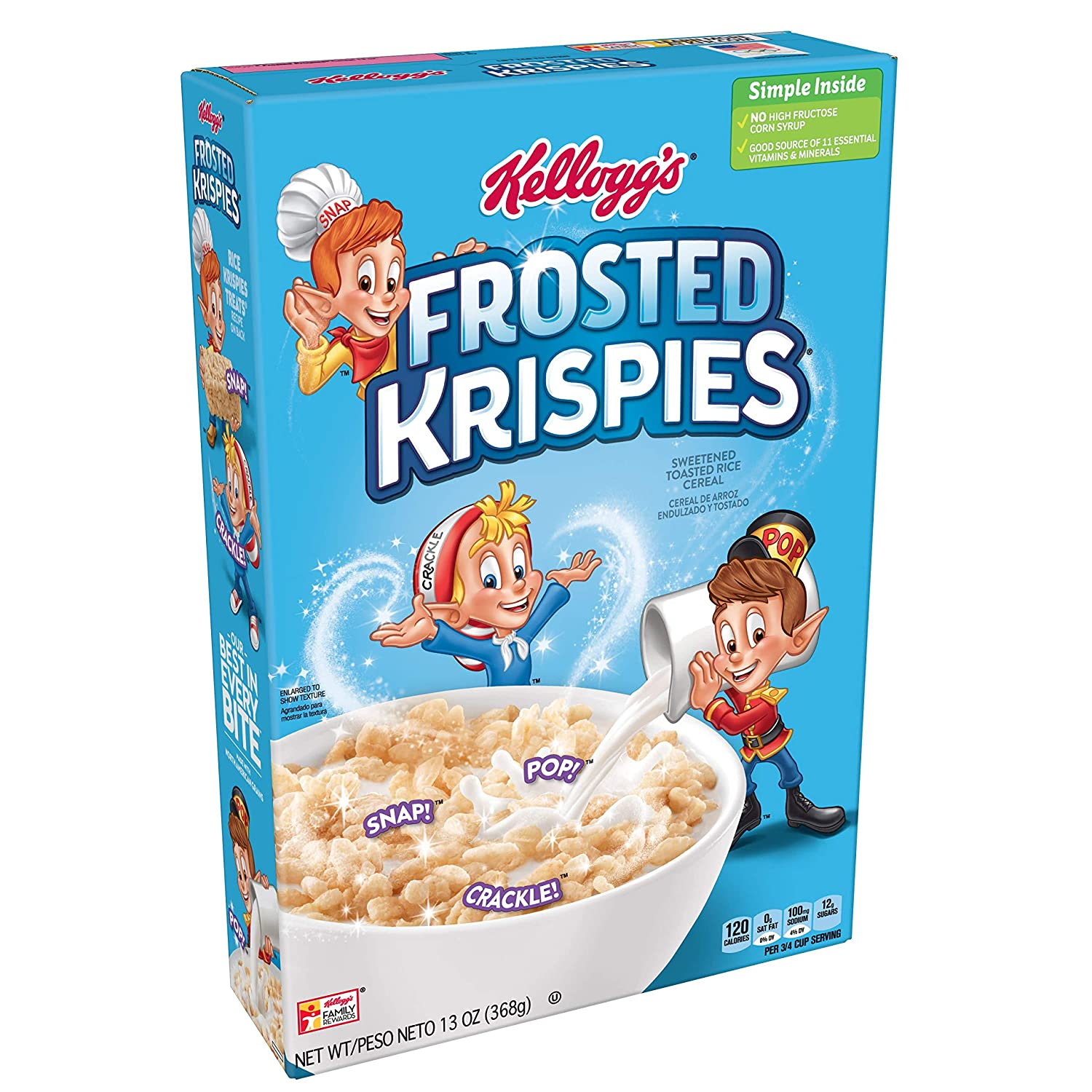 Rice Krispies Kellogg's Fat-Free Frosted Krispies Breakfast Cereal, Toasted Rice Cereal, 13 Ounce, Pack of 16