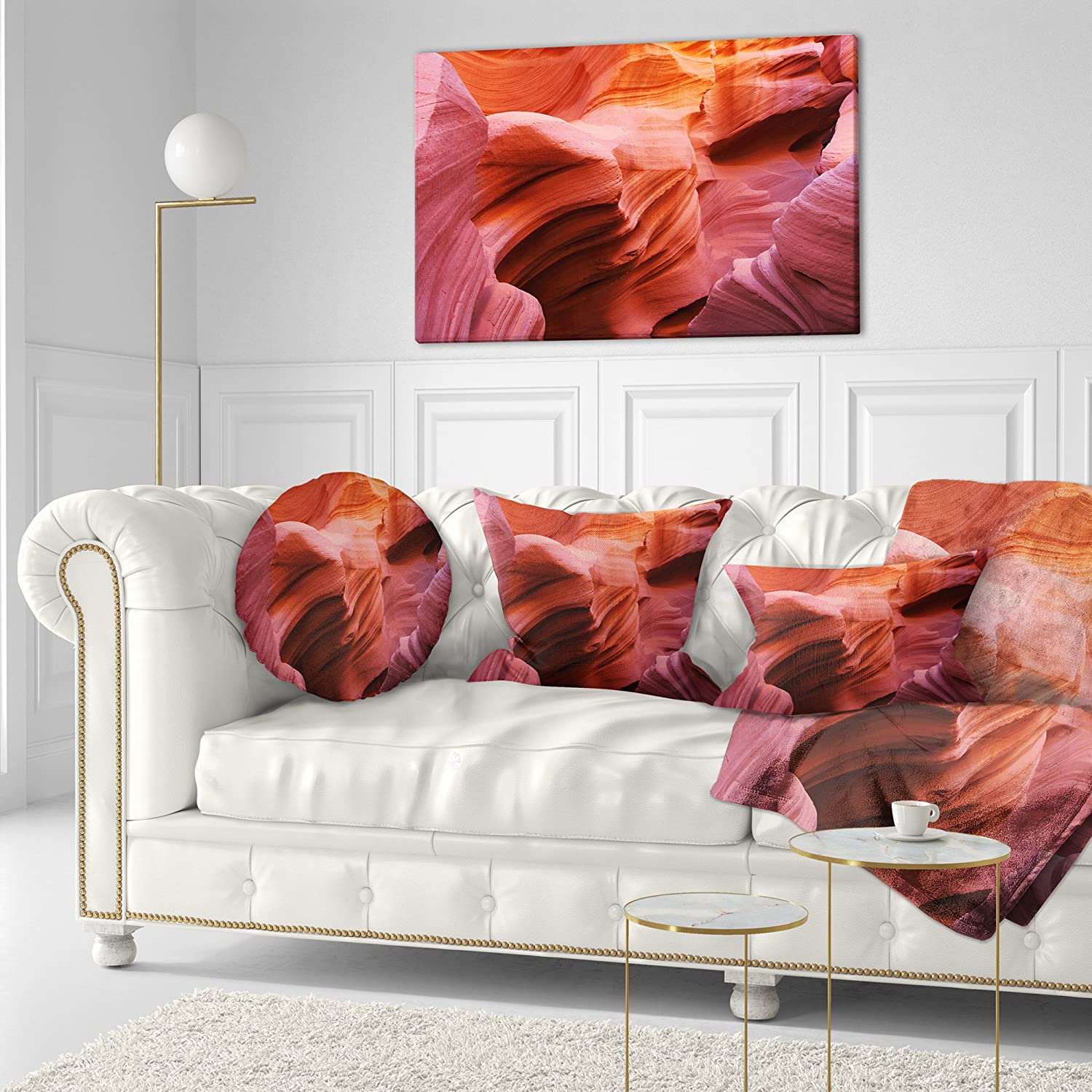 Designart CU8752-16-16-C Orange Red Antelope Canyon Landscape Photography Round Cushion Cover for Living Room Sofa Throw Pillow 16