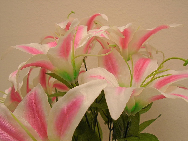 Amazon phoenix silk tiger lily bush satin 11 artificial flowers amazon phoenix silk tiger lily bush satin 11 artificial flowers 19 bouquet 8225 orange home kitchen izmirmasajfo