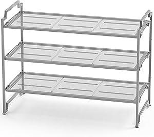 Simple Houseware 3-Tier Stackable Shoe Shelves Storage Utility Rack, Silver