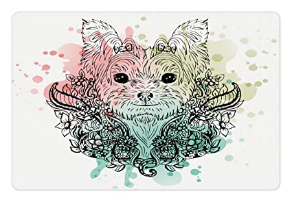 Amazoncom Ambesonne Yorkie Pet Mat For Food And Water Sketch Of A