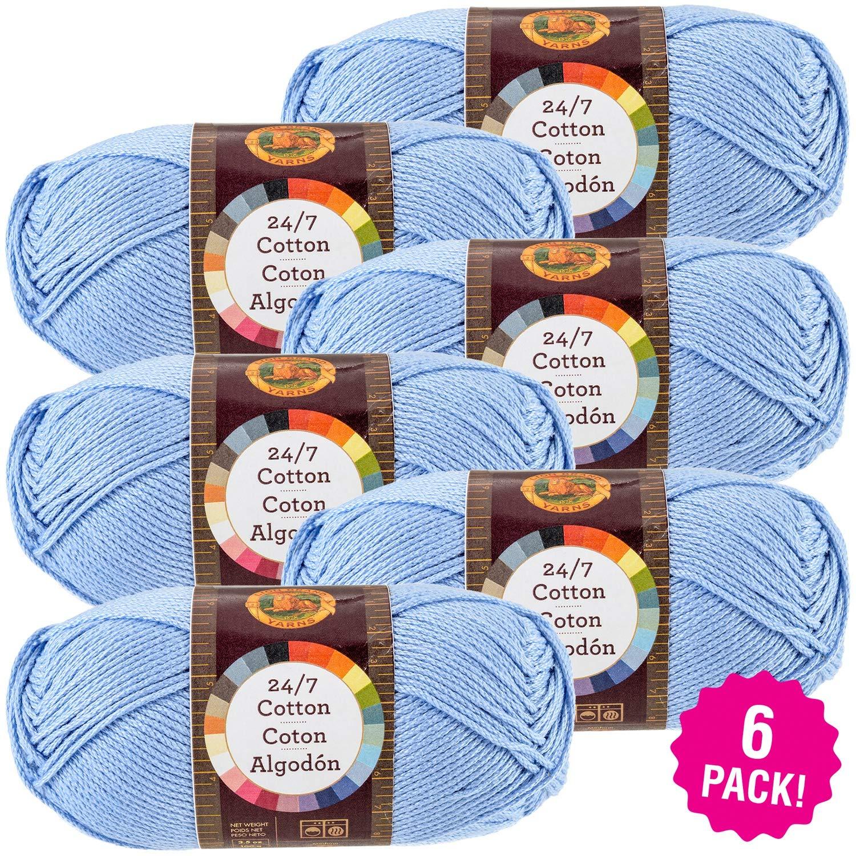 Lion Brand 98151 24/7 Cotton Yarn-6/Pk-Sky, 6/Pk, Sky 6 Pack