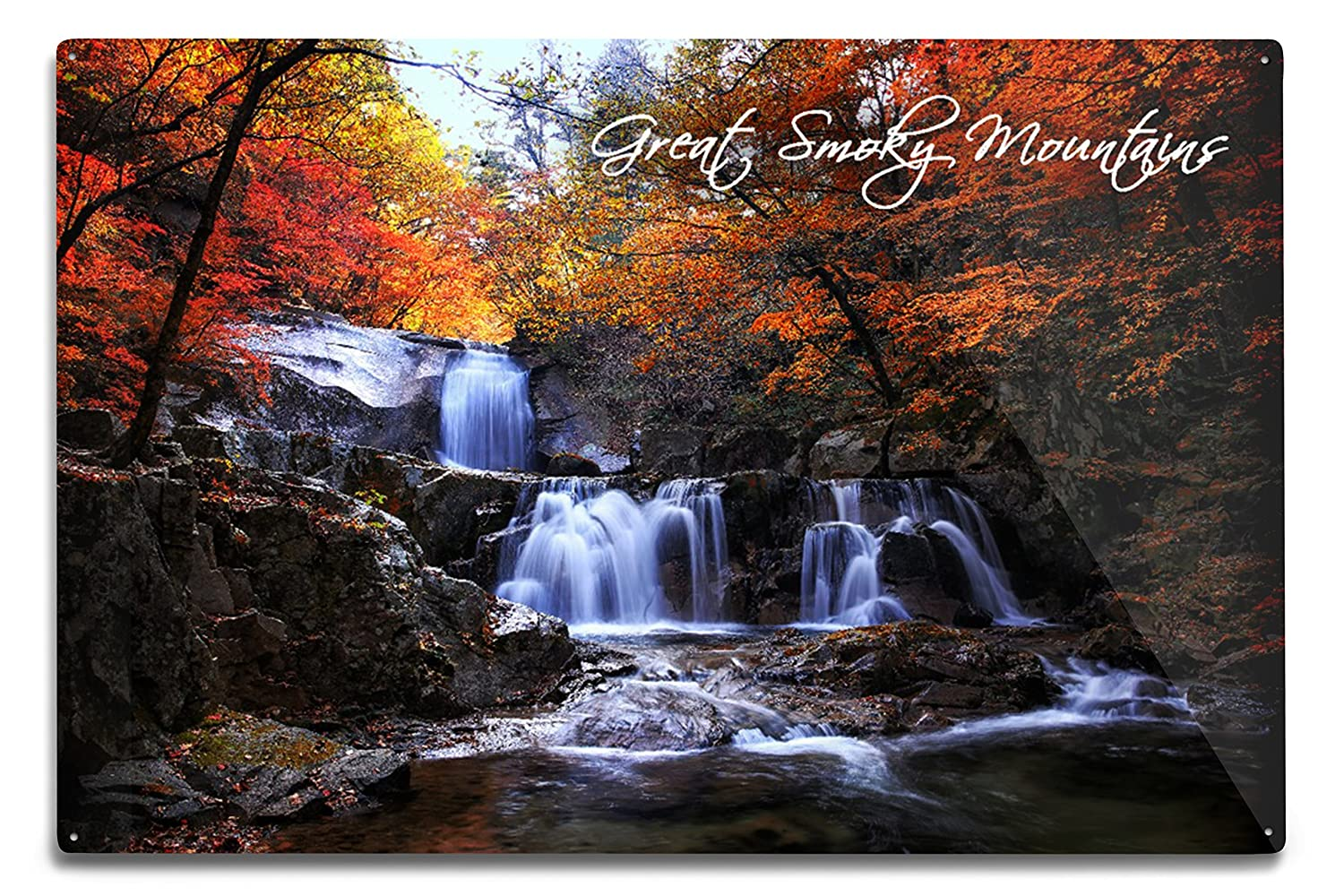 16x24 SIGNED Print Master Art Print - Wall Decor Poster Great Smoky Mountains Tennessee Waterfall and Autumn Colors 86429