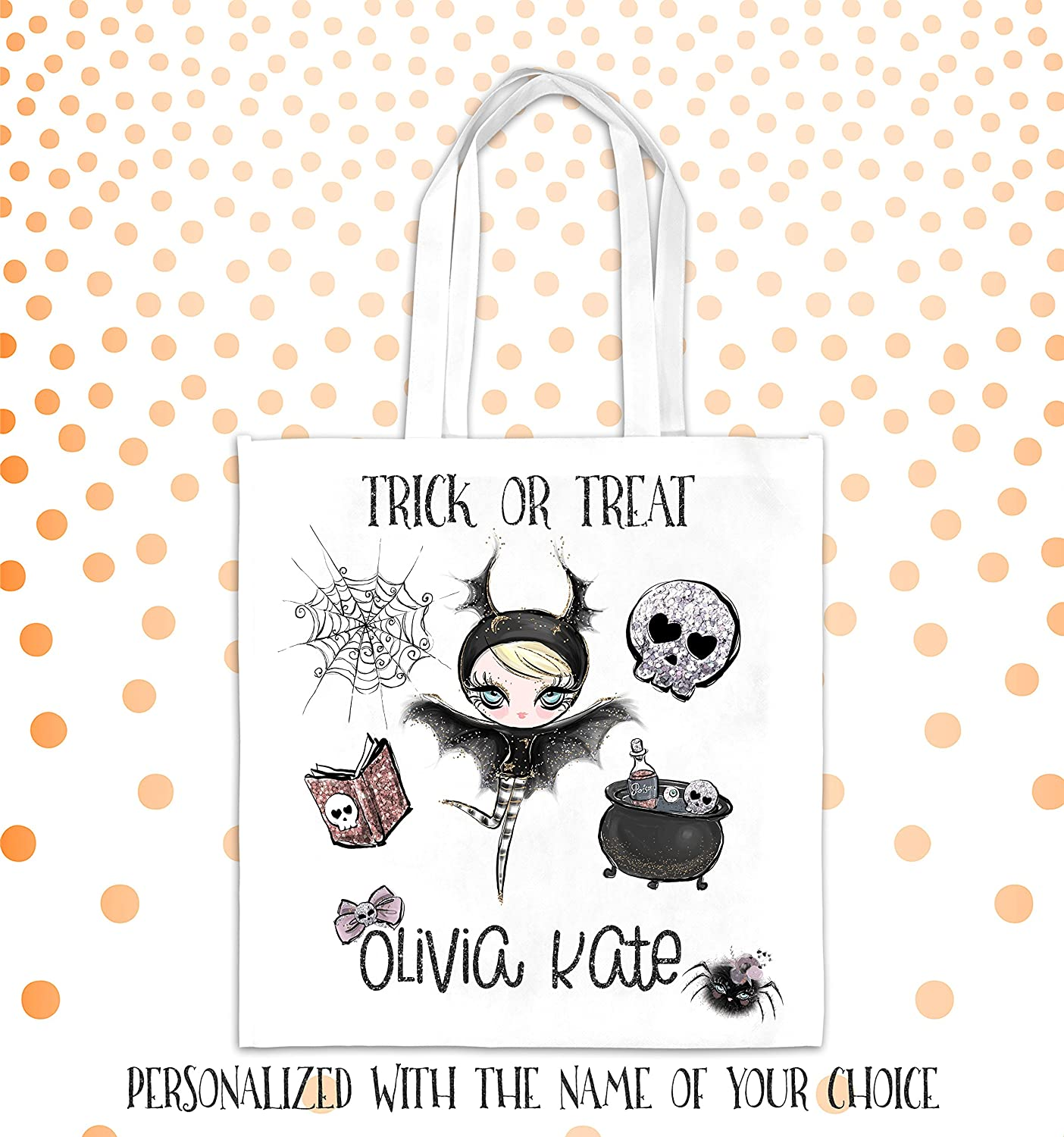 Trick or Treat Bag Personalized Trick or Treat Bag Girl's Trick or Treat Bag Monogrammed Trick or Treat Halloween Bag Halloween Candy Bag