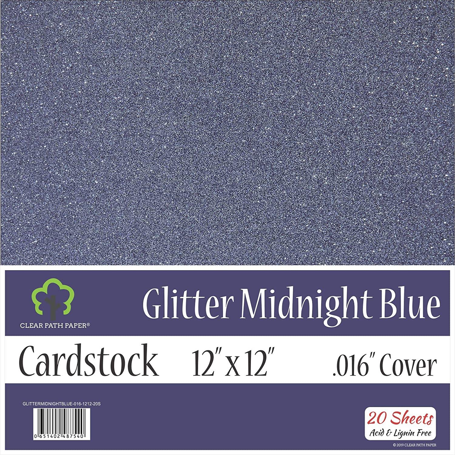 .016 Thick 8.5 x 11 inch 10 Sheets Glitter Midnight Blue Cardstock