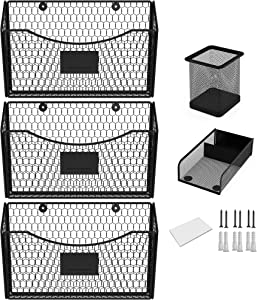 Wall File Holder Metal - Sets of 3 Rustic Hanging Wall File Organizer with Screws, Wall Anchors, 9 Labels, Pen, Paper Clip Holder
