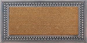 "A1 HOME COLLECTIONS Door Mat, Rubber and Coir Outdoor Welcome Mat Doormat - Geometric Design, 24"" x 39"", Bronze"