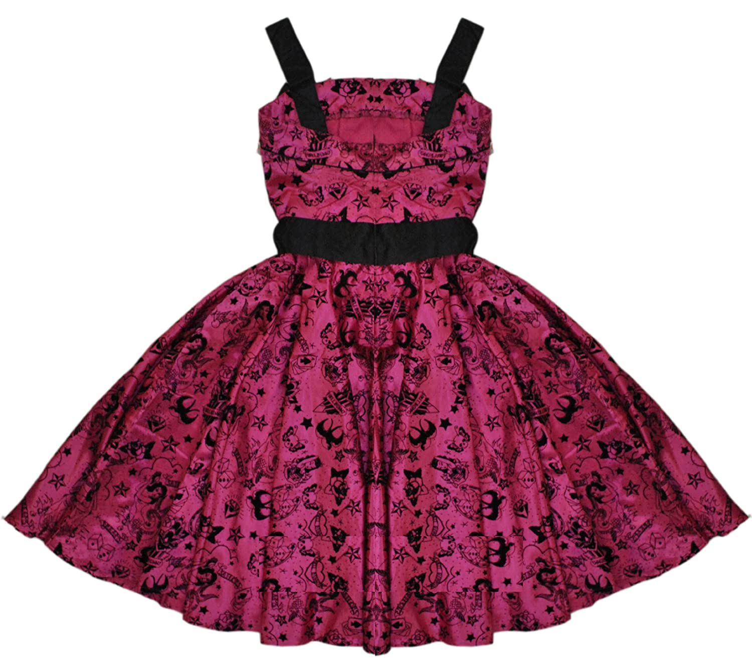 76dfd58669 Hell Bunny Tattoo Flocked Emo Vintage Women's Pink Party Prom Dress X-Small  UK 8: Amazon.co.uk: Clothing