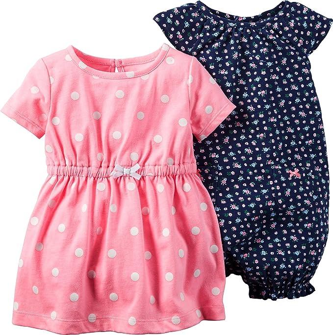 497b07d65cc1 Amazon.com  Carters Baby Girls 2-pk. Polka Dress   Romper Set 12 ...