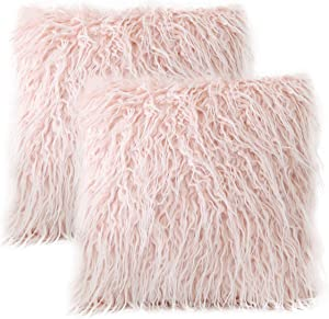 Home Brilliant Set of 2 Decorative New Luxury Series Merino Style Fur Throw Pillow Case Cushion Cover 20x20 Inches, 50x50cm, Pink