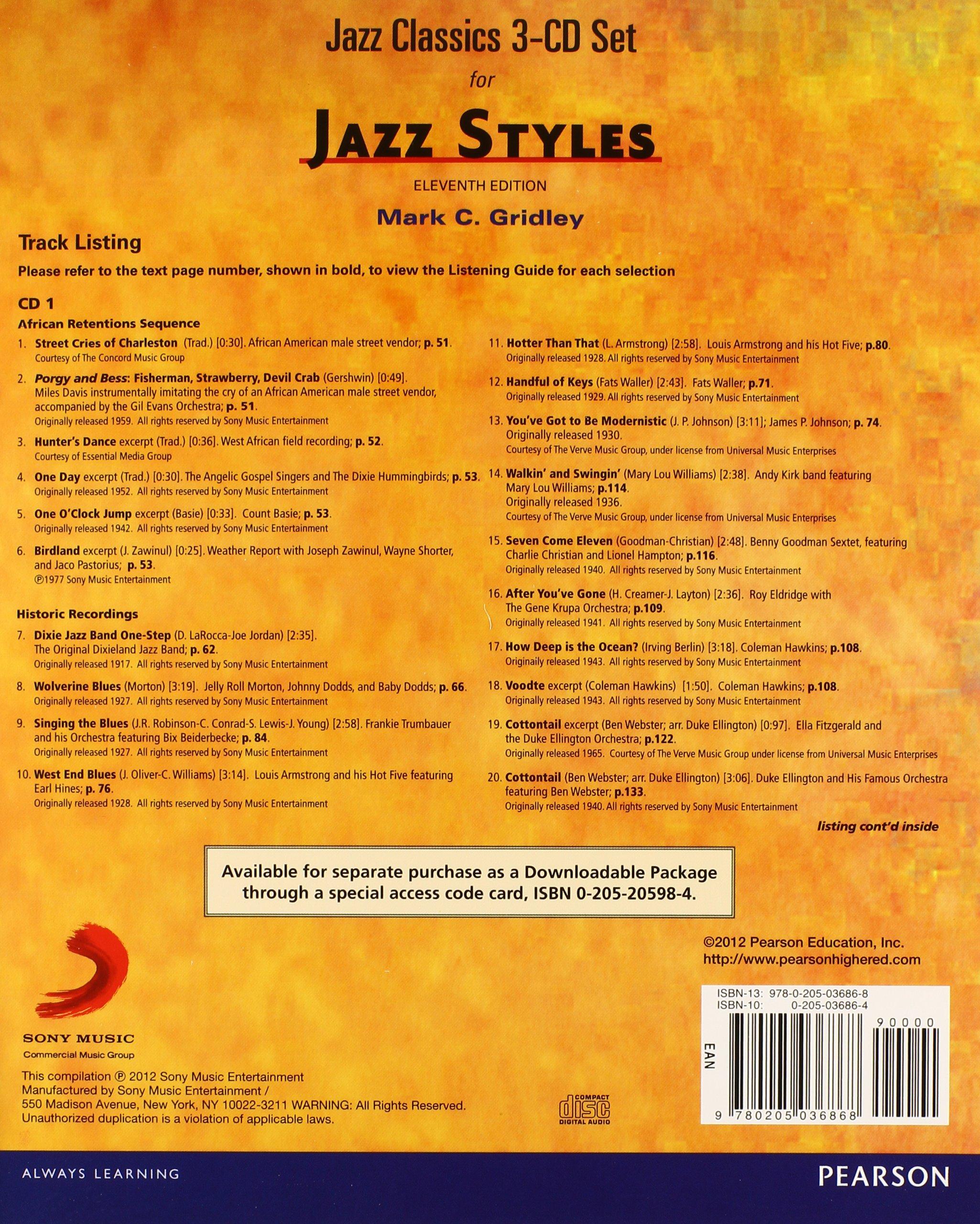 Jazz classics cd set 3 cds for jazz styles mark c gridley jazz classics cd set 3 cds for jazz styles mark c gridley 9780205036868 music amazon canada fandeluxe Gallery