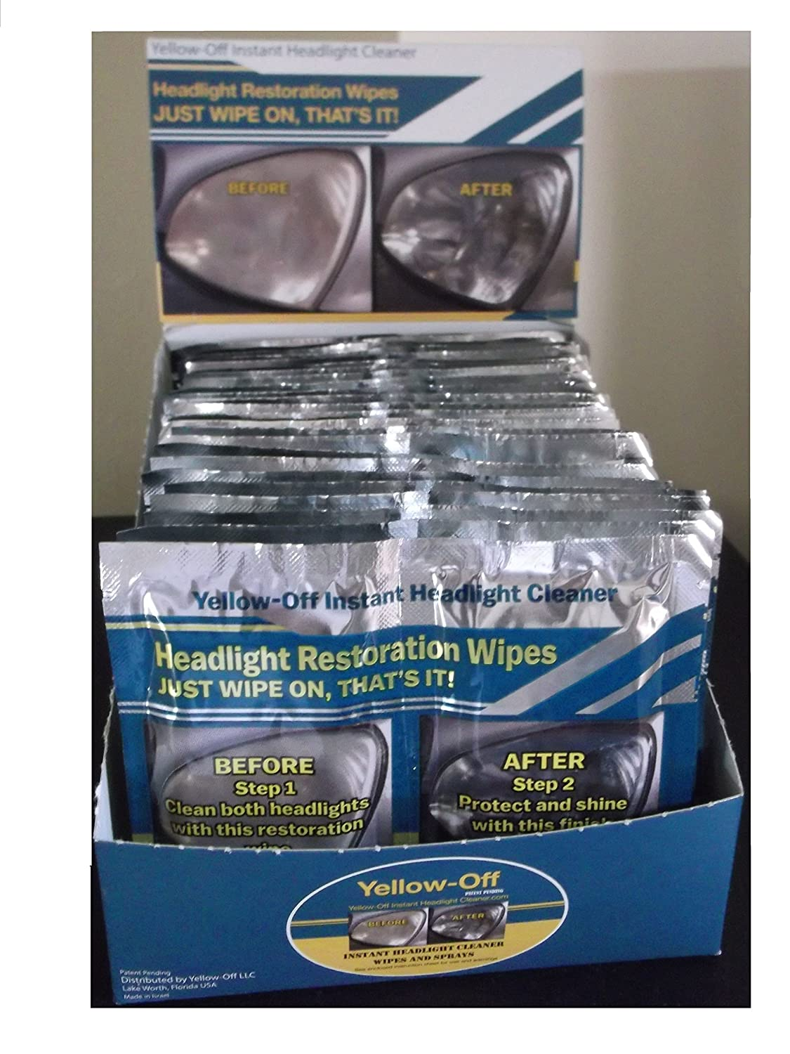25 Headlight Cleaner and Lens Restoration Wipes with Display Case Yellow Off Headlight Cleaner 10655315010298
