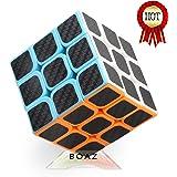 rubik cube 3-D Puzzles rubix cube 3x3x3 speed Cube Carbon Fiber Sticker 56×56×56mm (Black) Rubiks cube