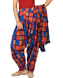 Rama Women's Cotton Abstract Print Patiala Dupatta Set (Blue and Orange, Free Size)