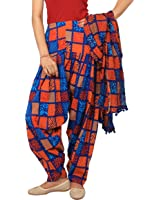 Rama Blue and Orange abstract print patiala dupatta set.