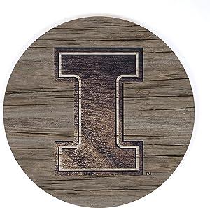 P. Graham Dunn University of Illinois NCAA Team Logo 17 x 17 Wood Barrel Top Sign