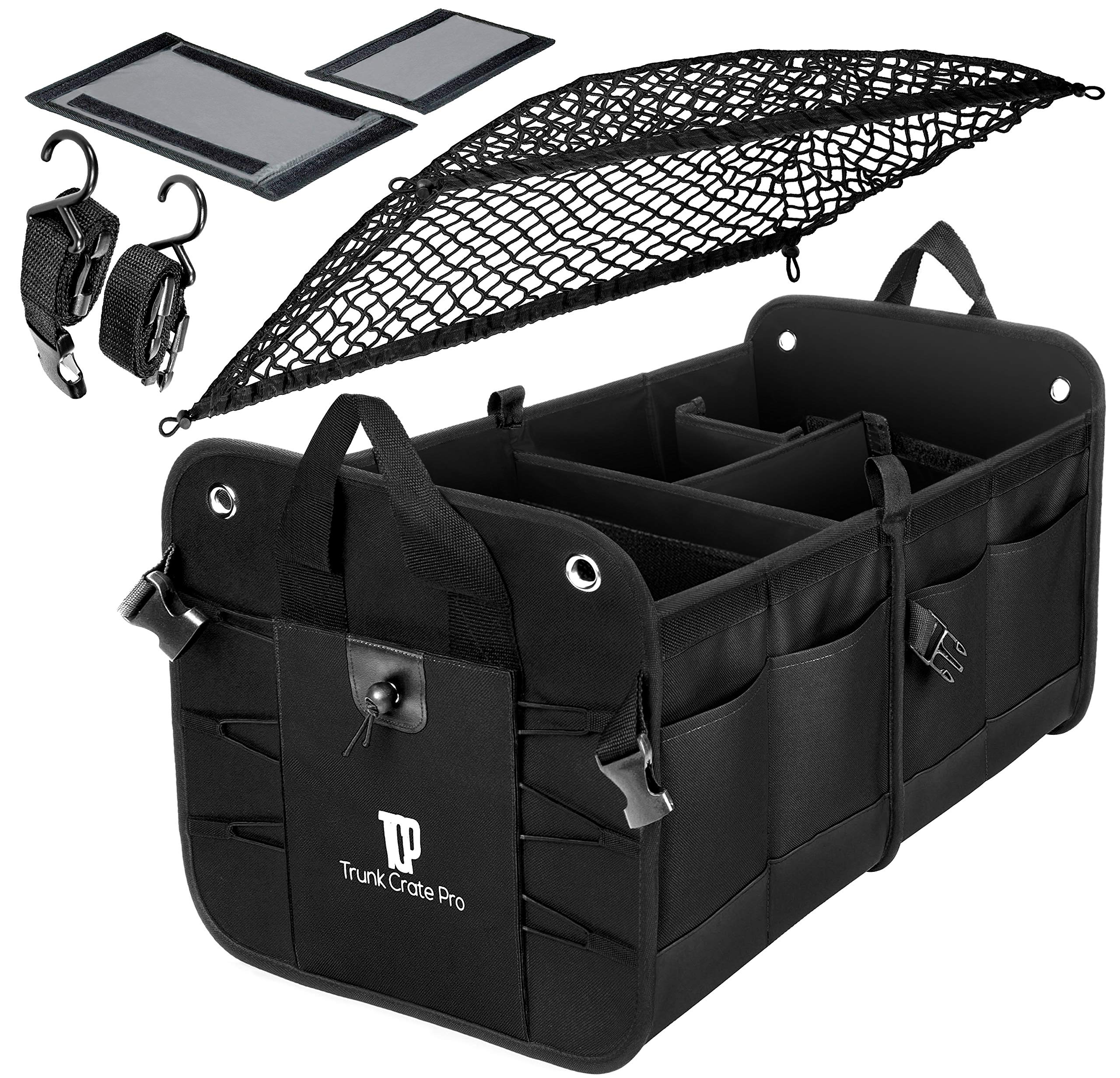 Minivan Adjustable Compartments Foldable Portable Trunk Organizer with lid Trunk Organizer for SUV Truck Heavy Duty Durable Car Organizer Removable Flexible Storage Groceries Bag BLACK, 2 IN 1