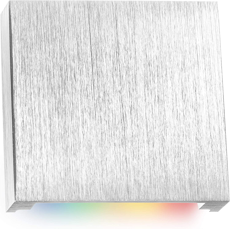Fernbedienung anthrazit RGB LED Treppenbeleuchtung PLEXI schwarz Eckig f/ür Schalterdoseneinbau 60//68mm Warmwei/ß Dimmbar Farbwechsel