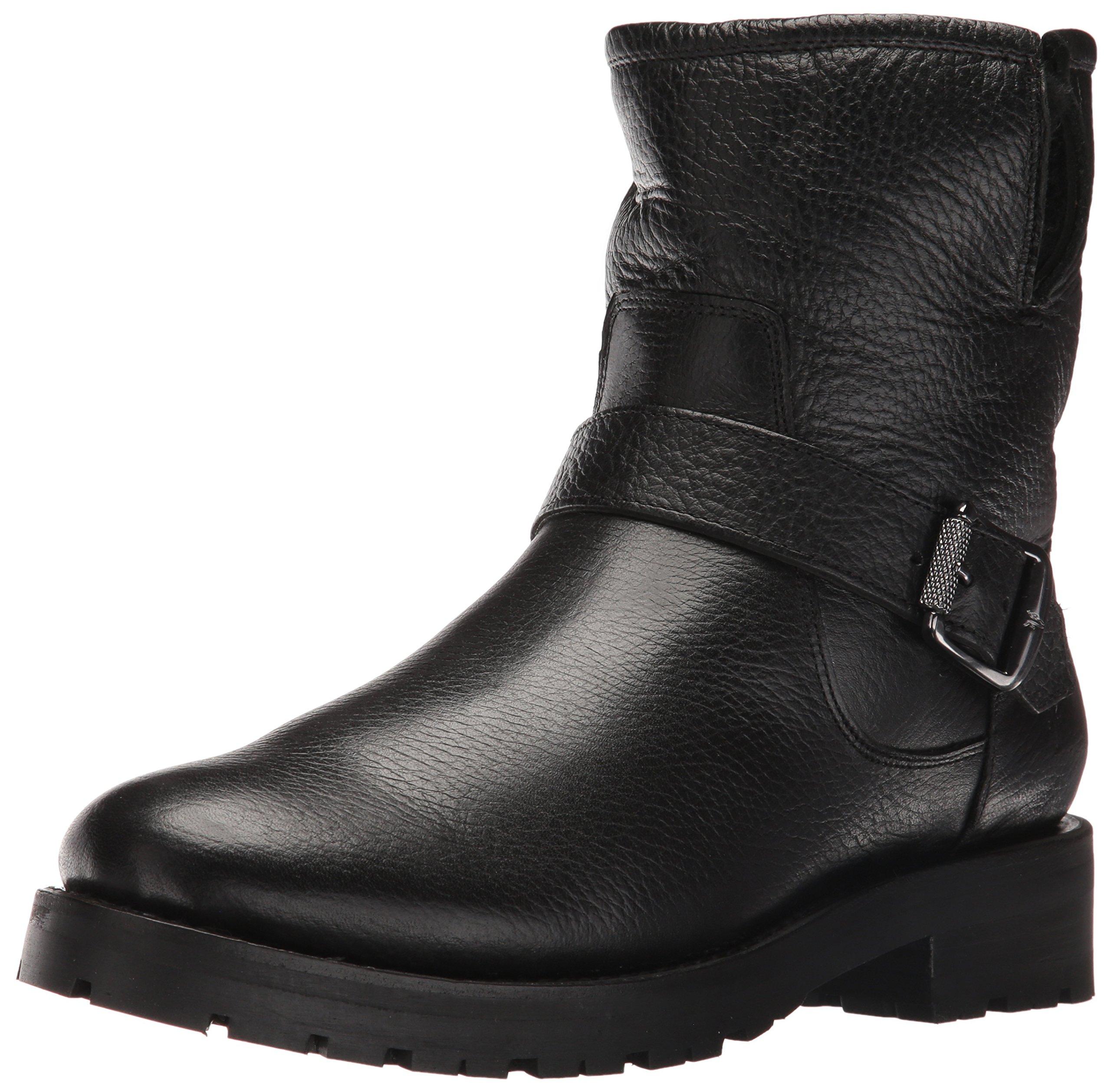 FRYE Women's Natalie Short Engineer Lug Shearling Winter Boot, Black, 8.5 M US
