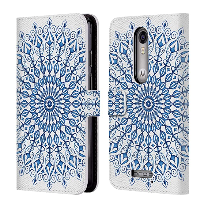Official Julia Grifol Blue Lovely Mandala Bohemian Leather Book Wallet Case Cover for Droid Turbo 2