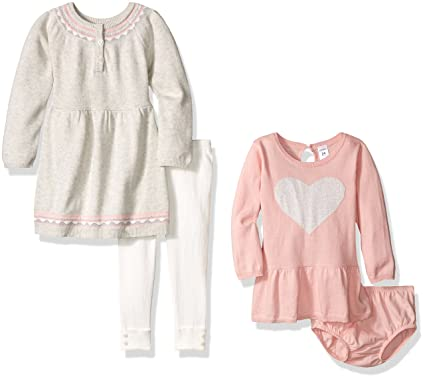 96acc6e2a Amazon.com: Carter's Girls' 4-Piece Dress, Sweater and Legging Set,  Grey/Navy, 9 Months: Clothing