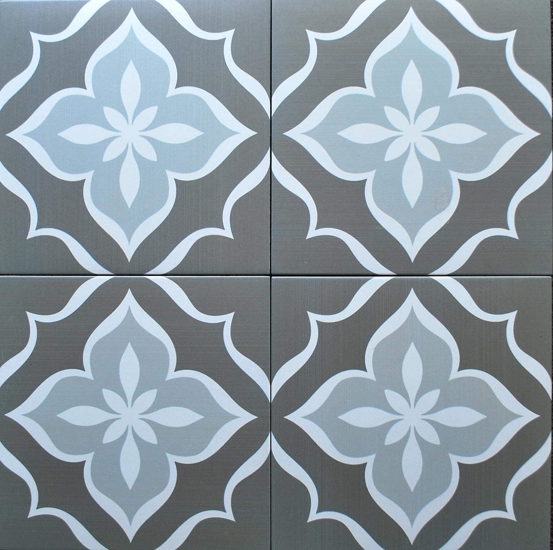 Amazon.com : 8x8 Flora Antique Grey Porcelain Stoneware Floor and ...