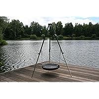 Schwenkgrill schwarz XXL Stahl Swing Grill Garten ✔ rund dreieckig ✔ schwenkbar ✔ Grillen mit Holzkohle ✔ mit Dreibeinen